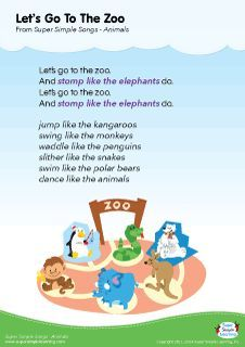 """Lyrics poster for Let's Go To The Zoo"""" animal song from Super Simple Learning. #kidssongs #kindergarten #ESL"""
