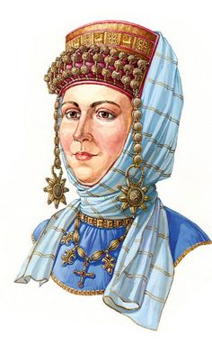 Russian woman in a head-wear with decorations and temple pendants (kolty). The second half of the 12th century. Reconstruction of the wearing style according to the archaeological data. #medieval #Russian #history