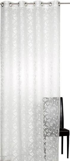 Die halbtransparente Gardine von Elbersdrucke mit elegantem Muster in Spitzen-Optik, verleiht Ihrem Wohnraum eine besondere Atmosphäre. Der Stoff hat einen schönen Fall durch die weiche, leichte Qualität. Diese Fertig-Gardine aus echtem Ausbrenner bietet Ihnen tolle Dekorationsvielfalt. Mit diesem Ösenschal können Sie einfach und schnell jedes Fenster aufpeppen. Der pflegeleichte Stoff setzt to...