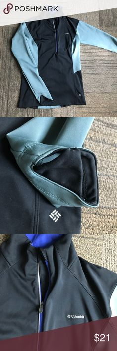 Columbia Omni Wind Block Sweatshirt Sweater Worn once. Size small. Has holes in the sleeves for your thumbs. Pullover with zipper. Like new! Black and grey with blue trim. Columbia Tops Sweatshirts & Hoodies