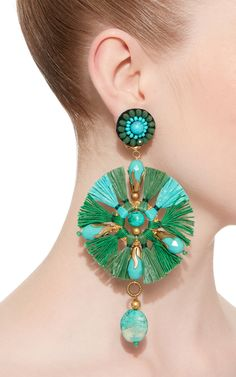 Ranjana Khan Green Fan Earrings
