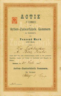 HWPH AG - Historische waardepapieren - Actien-Zuckerfabrik Gommern / Gommern, 21.07.1891, Gründer-Namensaktie über 1.000 Mark