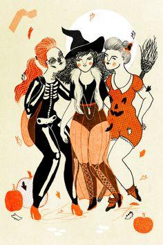 """""""Halloween Ladies""""  Jenessa Mae Kundinger Illustration"""