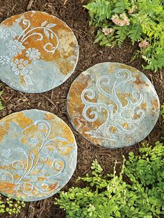 Could I stencil exterior paint in existing stone for Front flower bed? Adds subtle pop of color