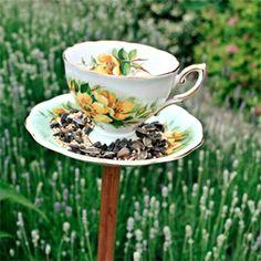 Make a bird feeder with a vintage teacup.