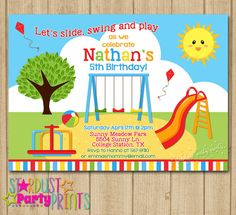 Printable playground birthday invitation party in the park playground birthday invitation boy playground by stardustevents filmwisefo Gallery
