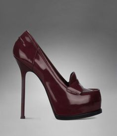 b115dcfac98ad4 Check out YSL Trib Too High-Heel Loafer in Dark Magenta Leather at http