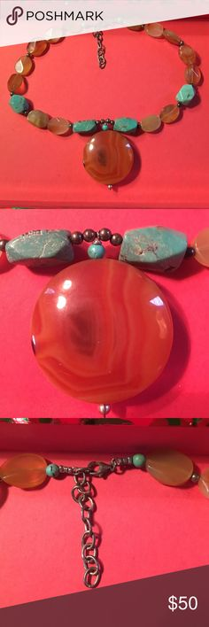20%off bundles or BOGO 1/2. Free $5item w/purchase Adjustable closure turquoise and agate necklace Jewelry Necklaces