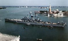 USS Salem (CA moored in the Canal della Guidecca, during a visit to Venice, Italy, on 23 August Salem was then flagship of the Sixth Fleet. Note decorated awning rigged forward, probably for entertaining visiting dignitaries Naval History, Military History, Uss Salem, Heavy Cruiser, Navy Ships, Most Beautiful Cities, Battleship, World War Ii, Marines