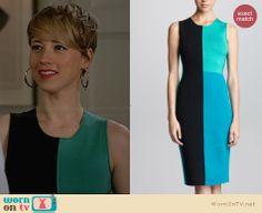 Margaux's green and black colorblock dress on Revenge.  Outfit Details: http://wornontv.net/31502/ #Revenge