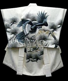A stunning, boy's, silk, Japanese kimono, with a spectacular hawk.  So many beautiful things come from Japan. From FuruGuru.  Currently available at http://www.wafuku.co.uk