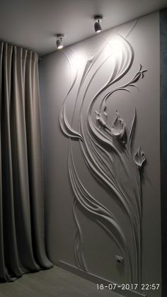 plaster on wall. You can use this on small sections of wall at home. Beautiful wall plaster relief of lily flpwer Bild IMG 6791 in Interior design Album Discover thousands of images about wall plaster Embellishment idea for plaster and cob homes Art Mural 3d, 3d Wall Art, Wall Murals, Plaster Art, Plaster Walls, Wall Decor, Room Decor, Ceiling Design, Wall Sculptures