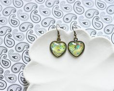 Fresh Boho Chic // Earrings in the shape of a heart made from metal brass with image under glass // 2015 Best Trends // Great Gifts For Her