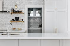 NEWTOWN HOUSE - KITCHEN & SCULLERY | The English Tapware Company House, Glass Front Door, Splashback, Cabinetry, Kitchen Taps, Home Decor, Home Kitchens, White Bench, Kitchen Design