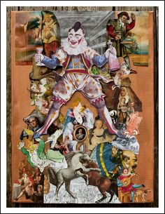 This collage is about fools and maddness. The most famous clown of the 19th century,  Joseph Gramaldi,  Joey the clown,  is the central overarching figure, but you will also find a mad bull, a mad dog and David Garrick the greatest comic actor of his age. In the centre is a small oval portrait of Mad king Ludwig of Bavaria