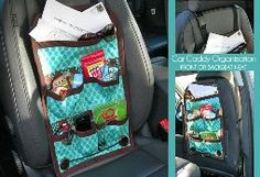 DIY Car organizer for the front or back seat. I have one! It is great not to have to stuff everything into an already full diaper bag!