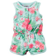 Baby Girl Carter's Floral Henley Romper, Size: NEWBORN, Turquoise ($9.99) ❤ liked on Polyvore featuring turquoise
