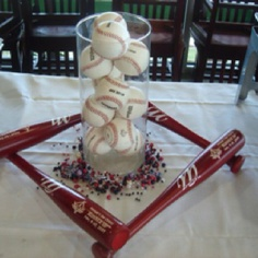 Centerpiece ideas- sport themed event, each bat can be personalized for the player then shadow boxed for a keepsake...