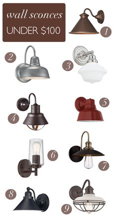 Pretty and unique lighting doesn't have to equal expensive. Whether you are looking for sconces for your bathroom or outdoor sconces, I've rounded up some pretty wall sconces all under $100.