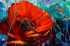 Poppies Floral Canvas Modern Flower Oil Painting Poppy Fields