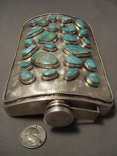 501 GRAM SOLID STERLING SILVER VINTAGE NAVAJO CARICO LAKE TURQUOISE SILVER FLASK