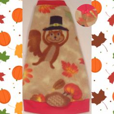 """Thanksgiving Critter Fleece """"Turkey Time"""" for your Sphynx, Devon Rex, Cornish Rex, Peterbald, Bambino, cat clothes. Available from small kitten to large cat!"""