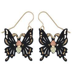 Coleman Black Hills Gold These unique gold accented butterfly earrings feature a touch of elegance and simplicity with a bold black powdercoating and rose and green gold leaves. Jewelry is gol Wing Earrings, Butterfly Earrings, Gold Earrings, Gold Necklace, Beaded Earrings, Christmas Gift For My Wife, Fashion Jewelry, Women's Jewelry, Antique Jewelry
