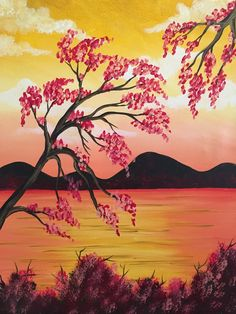Reflections of Gold is a peaceful painting, and the cherry blossoms are so fun to paint! Find it at Pinot's Palette! #oceanpainting #sunset