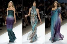 Carlos Miele... Dress on far right looks like smoke I love it!