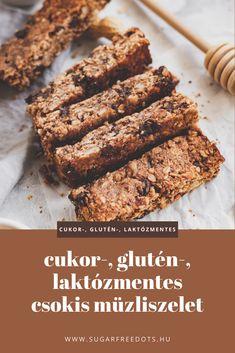Cukor-, glutén- és laktózmentes csokoládés müzliszelet recept Cukor, Izu, Diabetic Recipes, Banana Bread, Cereal, Snacks, Breakfast, Food, Morning Coffee