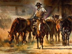 Chris Owen  ~  The Horse Wrangler. My favorite western artist, have several of his pieces.
