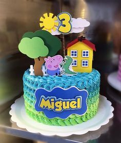 Tortas Peppa Pig, Bolo Da Peppa Pig, Peppa Pig Birthday Cake, Happy Birthday Cake Topper, Bolo George Pig, George Pig Party, Thomas Birthday Parties, Snowman Cake, Girl Cakes