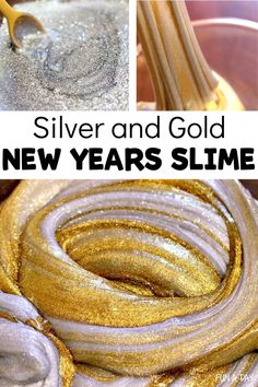 """Make silver and gold slime for a sparkly New Years activity! Includes easy DIY slime recipes for each color, then swirl them together for a festive sensory experience! """"Make new friends, but keep the old - one is silver and the other gold."""" Homemade Slime, Diy Slime, New Years Activities, Preschool Activities, Sensory Experience, Slime Recipe, Kids Meals, Homeschooling, Festive"""