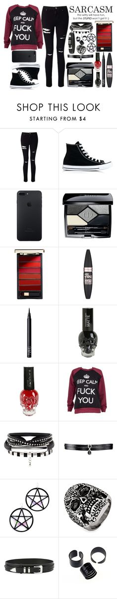 """""""Untitled #285"""" by exotic-demon-wolf ❤ liked on Polyvore featuring Miss Selfridge, Converse, Christian Dior, L'Oréal Paris, Maybelline, NARS Cosmetics, Fallon, Marina Fini, West Coast Jewelry and Faith Connexion"""