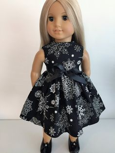 Black Fancy Snowflakes Dress and Sash for the American Girl Doll