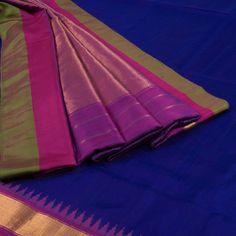 Venkie Reddy Sapphire Blue Handwoven Gadwal Kuttu Weave Silk Saree with Temple Zari Border 10002131 - AVISHYA