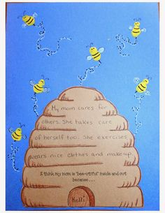 Classroom Freebies: My Mom Is Bee-utiful Because...Writing Prompt Craftivity For Mother's Day