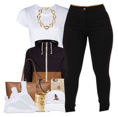 """""""BlackEbony"""" by msyorkieluver ❤ liked on Polyvore featuring RE/DONE, MICHAEL Michael Kors, Sunday Somewhere, Puma, Casetify, Forever 21 and Chanel"""