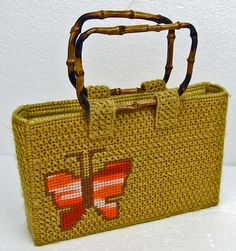 Vintage Gold Retro Needlepoint Cross Stitch Handbag with Bamboo Cane Handles Groovy Retro Orange Ombre Butterfly Adorable Fall Purse