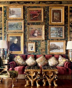 Opulent Living Room featuring this stunning gallery wall from Ann Getty's Book,.