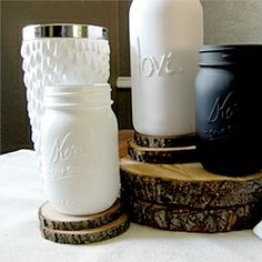 make your own message on jar w/ hot glue then spray paint!