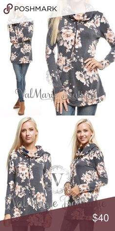 FRENCH TERRY GORGEOUS COWL NECK SUMMER Sweatshirt 🇺🇸MADE IN USA- This gorgeous French Terry cowl neck floral sweatshirt is perfect for spring days and summer nights! Features a cowl neck with front drawstring neck ties, super comfy fabric and gorgeous peach colored flowers on top a charcoal bodice. Fits true to size S(2-4) M(6-8) L(10-12) ValMarie Boutique Tops Sweatshirts & Hoodies