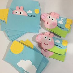 Peppa pig. Peppa pig thank you notes, which can be easily adapted to invitations.