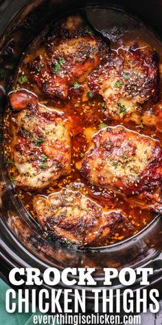 Crockpot Dishes, Crock Pot Cooking, Healthy Crockpot Recipes, Easy Chicken Recipes, Crockpot Meals, Healthy Chicken, Recipes For Chicken Thighs, Crock Pots, Chicken With Bone Recipes