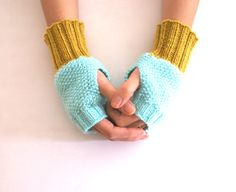 Fingerless Gloves, Wrist Warmers in Mint and Mustard Yellow. $29.00, via Etsy.