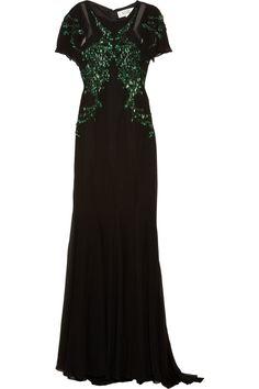 Embellished silk-chiffon gown by Badgley Mischka