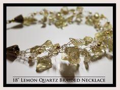 Lemon Quartz Braid Necklace and Earrings Rock Necklace, Braided Necklace, Rock Jewelry, Gemstone Necklace, Lemon Quartz, Necklaces, Bracelets, Natural Gemstones, Rocks