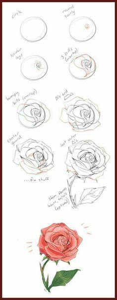 Dibujos a lapiz de rosas faciles