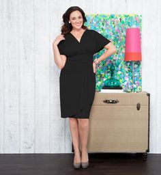 $40 // NWT KIYONNA (2X) Womens Black Danika Draped Jersey Cocktail Knee Dress Plus #kiyonna #Cocktail