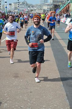 Jamie Page and Damian Peat completing a sub 4 hour Brighton Marathon 2013 in VIVOBAREFOOT One shoes. The best barefoot shoes!